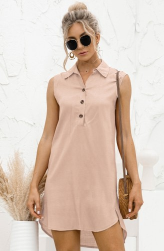 Летнее повседневное розовое платье-блузка без рукавов с высоким низким вырезом