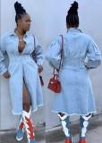 Casual lichtblauw lang spijkerjack met volledige mouwen