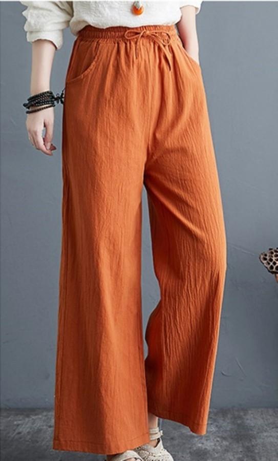 Pantalones anchos con cordones sólidos informales de verano