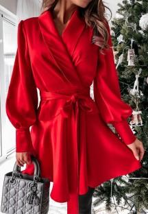 İlkbahar Gündelik Kırmızı Puf Kol Şal Patenci Elbisesi