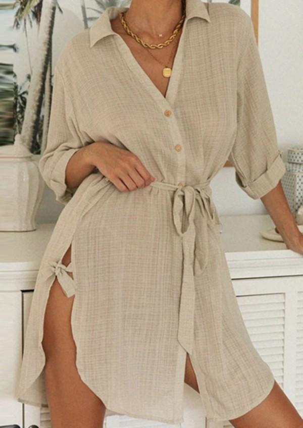 Vestido de blusa con abertura boho con cuello en V de color caqui de verano con cinturón