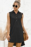 Vestido de blusa sin mangas negro alto bajo informal de verano