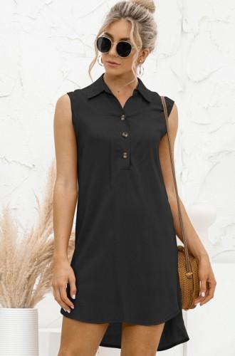 Летнее повседневное черное платье-блузка без рукавов с высоким низким вырезом