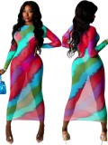 Vestido de fiesta largo delgado multicolor de verano con mangas completas