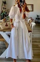 Zomer witte casual pofmouwen lange Boho jurk met riem