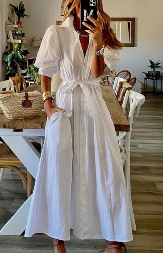 Летнее белое повседневное платье в стиле бохо с объемными рукавами и поясом