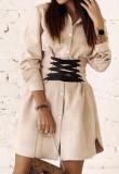 İlkbahar Gündelik Haki Bağcıklı Uzun Kollu Bluz Elbise