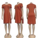 Conjunto de 2 piezas de camisa larga y pantalones cortos de motociclista con abertura lateral naranja informal de verano