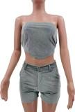 Summer Grey Velvet Sexy Crop Top sin tirantes y pantalones cortos Conjunto de 2 piezas