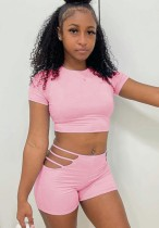 Summer Pink Sexy Crop Top und Hollow Out Shorts 2-teiliges Set