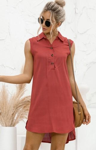 Летнее повседневное красное платье-блузка без рукавов с высоким низким вырезом