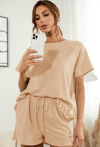 Летняя рубашка с короткими рукавами цвета хаки и шорты, комплект из 2 предметов для отдыха