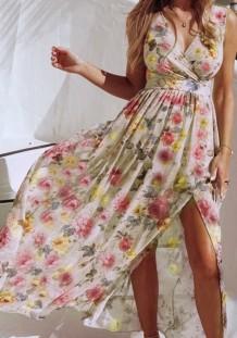 Vestido longo de verão floral havaiano sem mangas