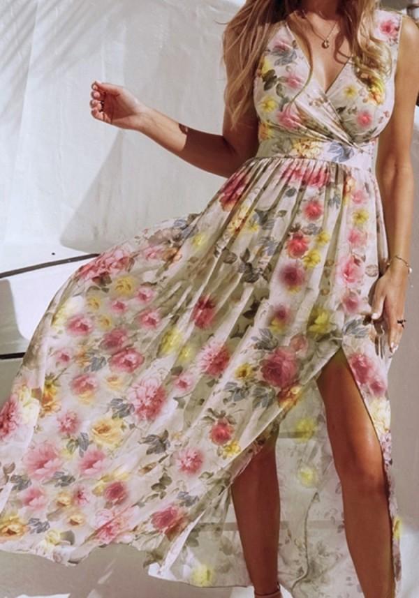 Vestido largo cruzado sin mangas floral de verano Hawaii