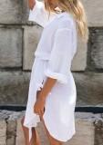 Vestido de blusa con abertura boho con cuello en V blanco de verano con cinturón