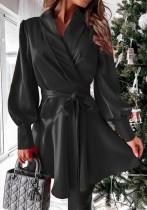 Frühling Casual Black Puff Sleeve Wickel Skater Kleid mit Gürtel