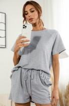 Summer Grey Short Sleeve Shirt and Shorts 2 Piece Lounge Set