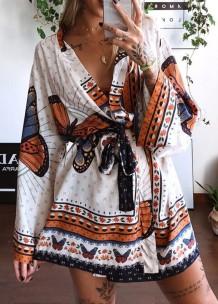 Vestido blusa envolvente estampado de borboleta de verão com mangas compridas