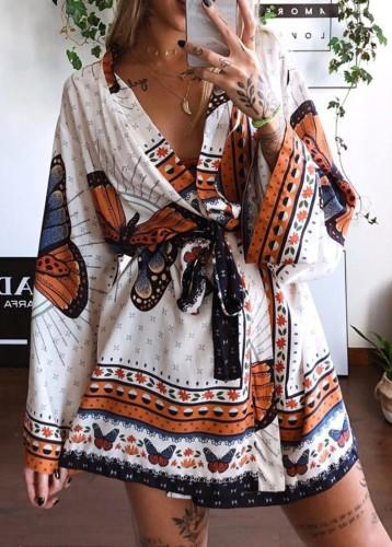 Летняя блузка с запахом и принтом бабочек Сарафан с длинными рукавами