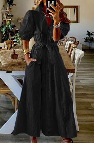 Летнее черное повседневное платье в стиле бохо с объемными рукавами и поясом