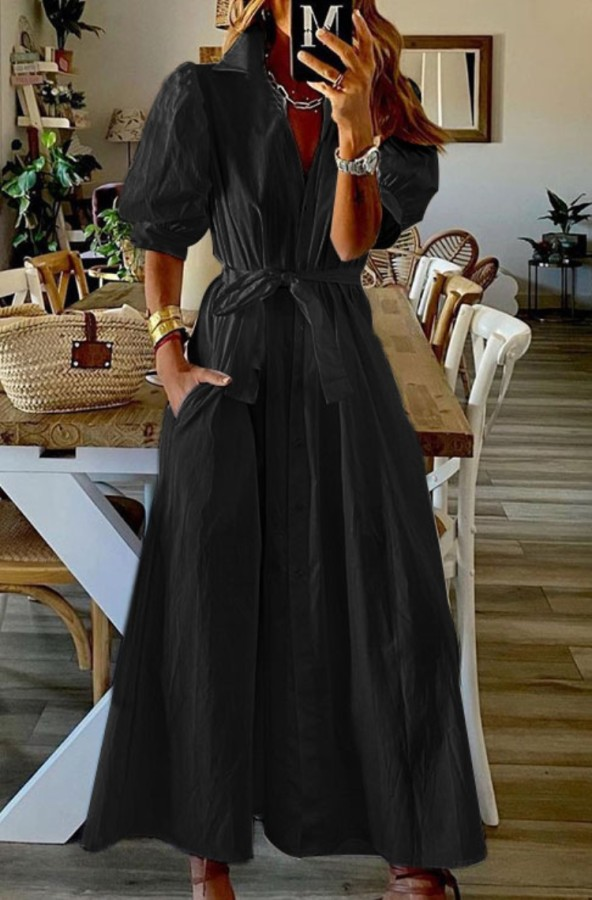 Verano negro casual manga abullonada vestido largo boho con cinturón