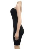 Vestido ajustado de tubo sexy con corte negro de verano