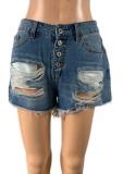 Pantalones cortos de mezclilla regular rasgados con botones azules de verano