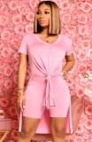 Conjunto de 2 piezas de camisa larga y pantalones cortos de motociclista con abertura lateral rosa informal de verano