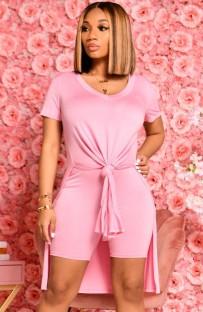 Conjunto de 2 peças de camisa longa casual de verão rosa com fenda lateral e shorts de motociclista