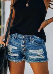 Shorts jeans normais rasgados de botão azul verão