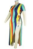 Vestido de fiesta largo con abertura sexy de arco iris de talla grande de verano