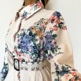 Spring Floral White Floral Long Maxi Dress with Full Sleeves