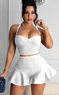 Summer White Sexy Halter Crop Top y Flare Shorts Conjunto de 2 piezas