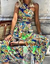 Zomer retro lange maxi-jurk met één schouderprint