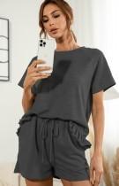 サマーブラック半袖シャツとショーツ2ピースラウンジセット
