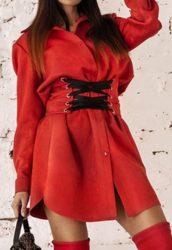 Spring Casual Red Lace-Up Long Sleeve Blouse Dress