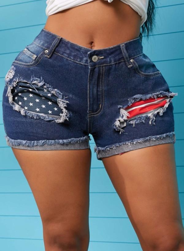 Pantalones cortos de mezclilla regulares con flecos azules con estampado de bandera de verano