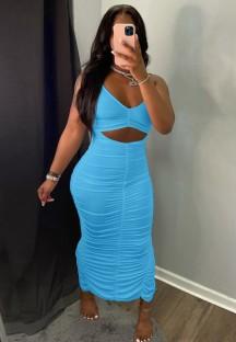 Vestido de festa longo verão azul sexy com corte franzido com alça franzida