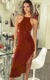 Vestido largo halter con abertura roja formal de verano