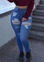 Sommer Sexy Fitted Blue High Waist Ripped Jeans