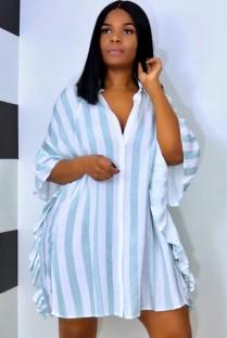 Sommer Casual Stripes Rüschen Bluse Kleid mit weiten Ärmeln