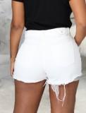 Pantalones cortos de mezclilla rasgados blancos ajustados sexy de verano