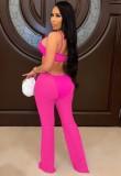 Mono de tirantes rosa recortado sexy de fiesta de verano