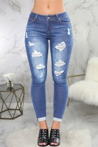 Sommer Sexy Fitted Hellblau Ripped Jeans