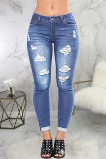 Calça jeans justa sexy azul claro rasgado
