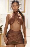 Summer Sexy Brown Wrap Halter Crop Top y Minifalda Set