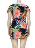 Vestido ajustado con estampado floral sexy de verano de talla grande