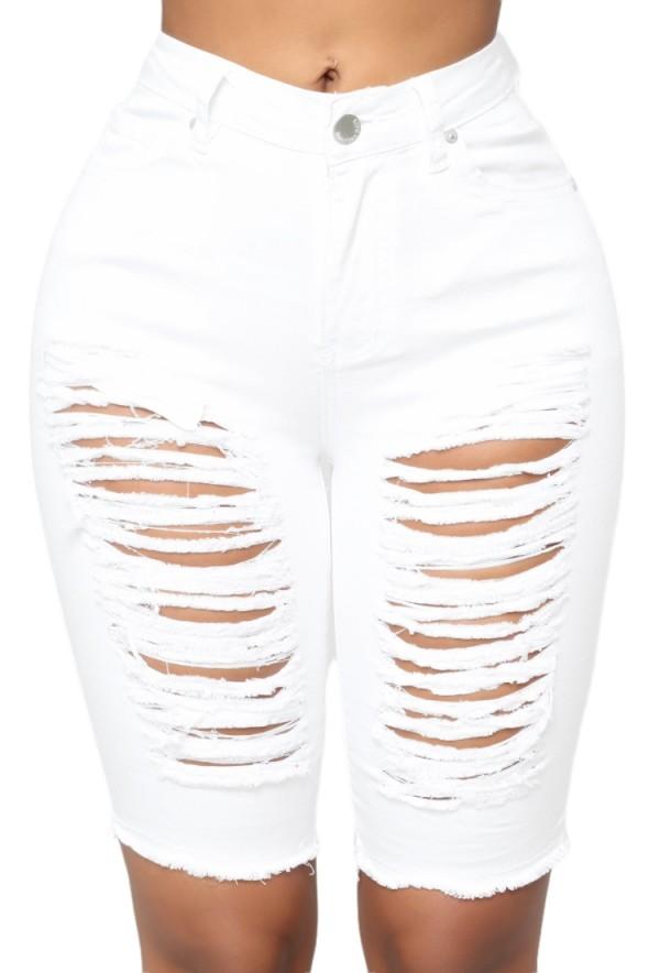 Pantalones cortos de mezclilla de cintura alta rasgados blancos ajustados sexy de verano
