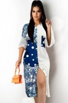 Vestido de blusa larga con estampado retro casual de verano