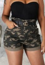 Summer Casual Camou Print High Waist Denim Shorts